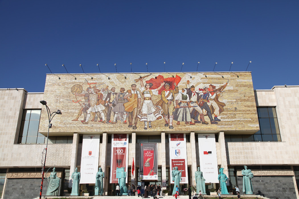 nationalist mosaic adorns the facade of the National History Museum in Tirana
