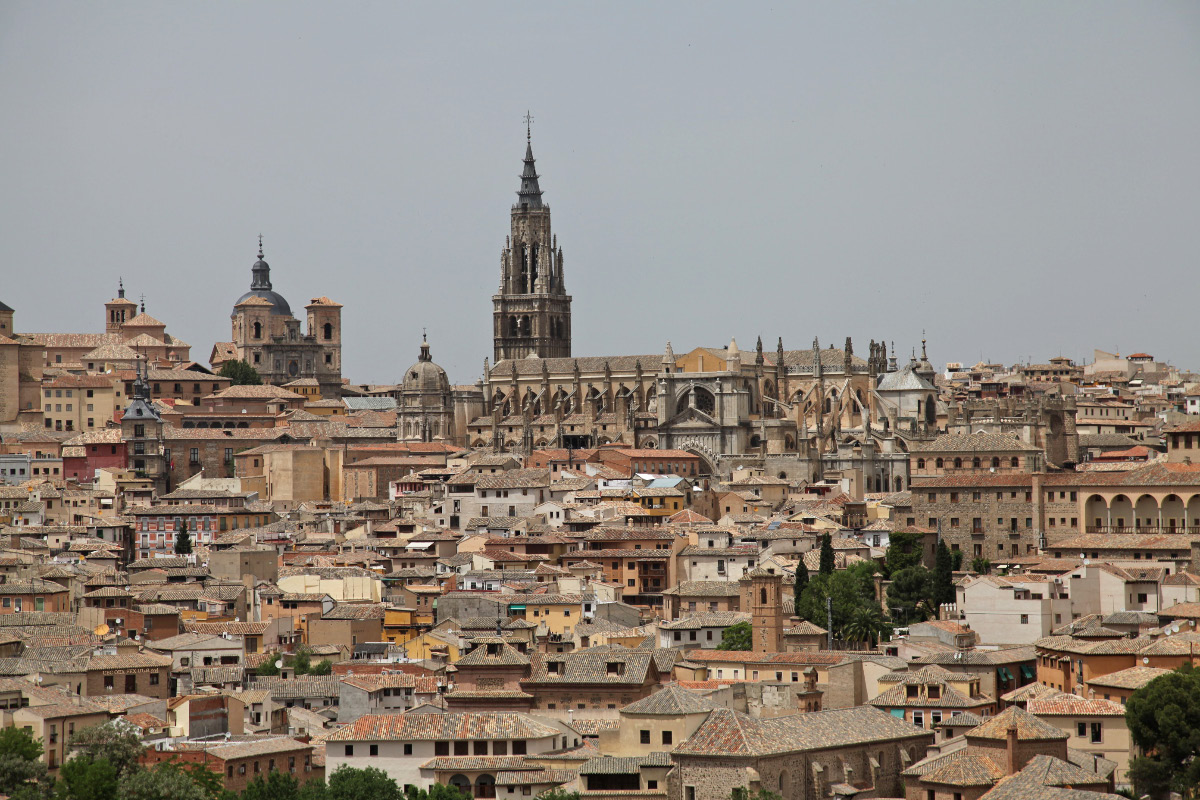 View of Iglesia San Ildefonso - Church of Saint Ildefonsus and the the Catedral Primada Santa María de Toledo – the Primate Cathedral of Saint Mary of Toledo