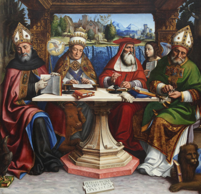 Four doctors of the Church (SS. Augustine, Gregory, Jerome, Ambrose)