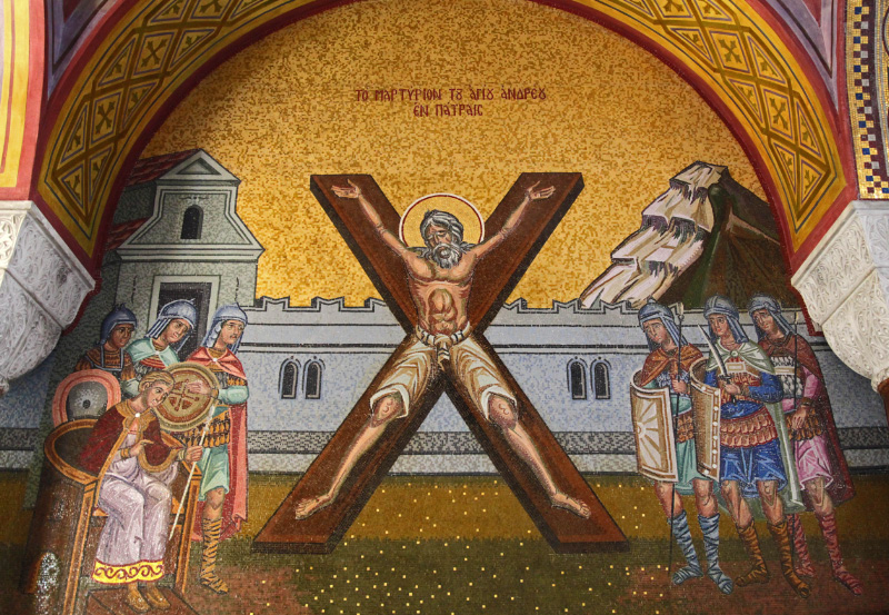 Mosaic of Saint Andrew crucified in Saint Andrews Cathedral in Patras Greece