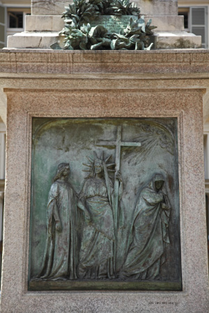 At base of monument to Vincenzo Gioberti, possible blasphemous depiction of the Lord and some figure, representing liberty?