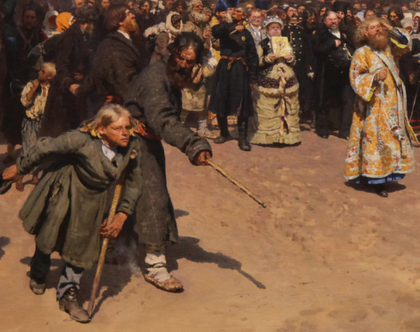 boy in Kursk Procession by Repin