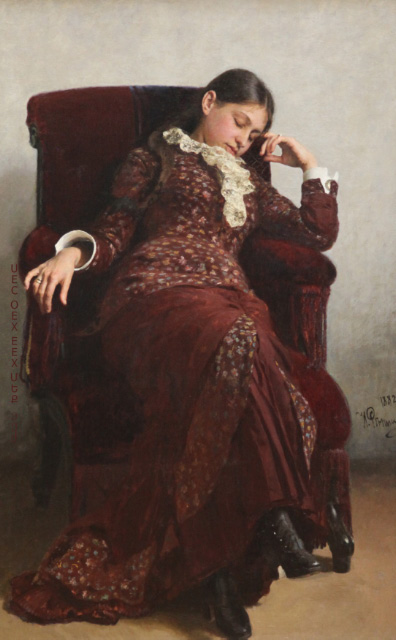 sleeping girl on chair by Repin