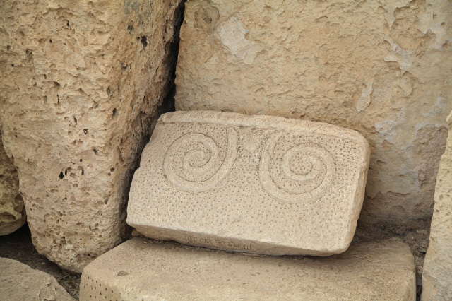 old stone with swirls