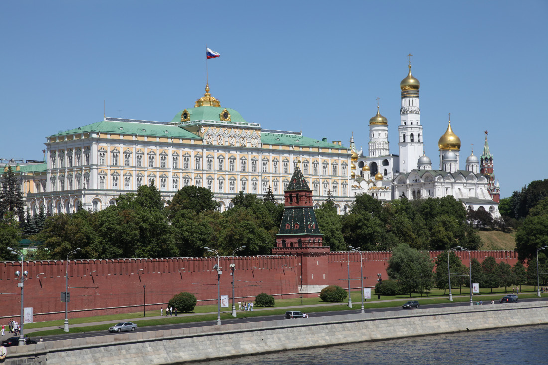 Mosocw Kremlin walls with Grand Palace Church cupola and Ivan the Great Bell Tower