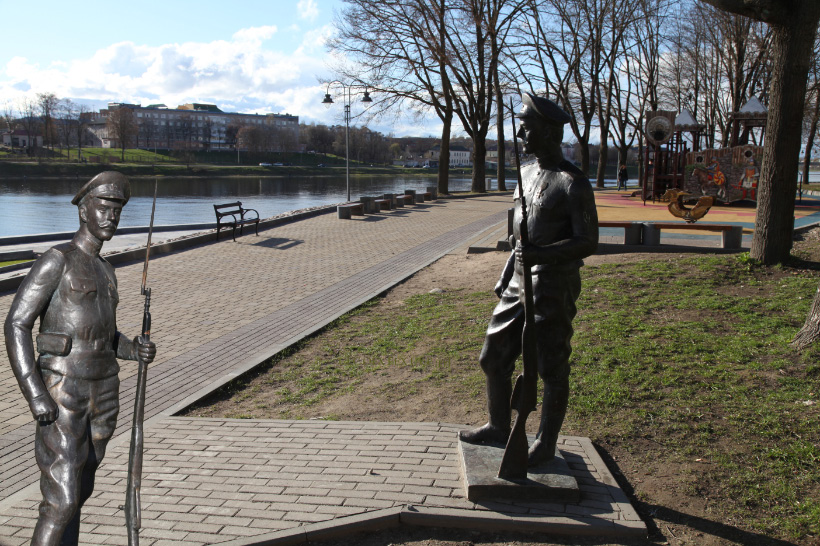 World War I bronze soldier on the Great River the Velikaya Reka in Pskov