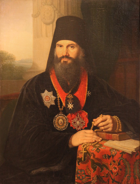 Russian Orthodox Metropolitan Mikhail wearing the Maltese Order