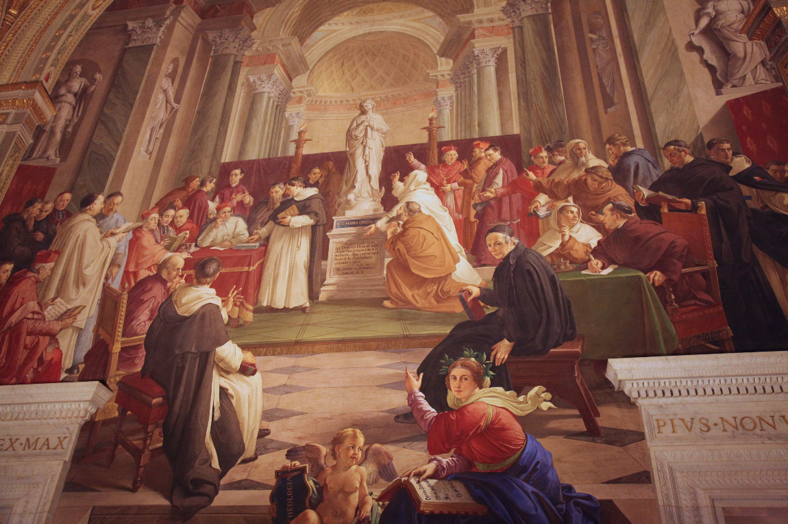 The Discussion of the Immaculate Conception by Francesco Podesti (with Pius IX in a cardinal's red hat) in the Vatican Room of the Immaculate Conception