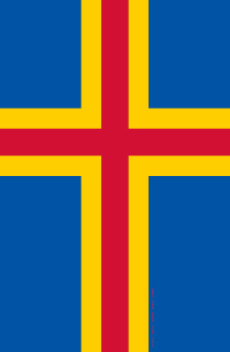 Swedish Åland – Ahvenanmaa – Åland Islands in Finland flag with Christian Nordic Cross